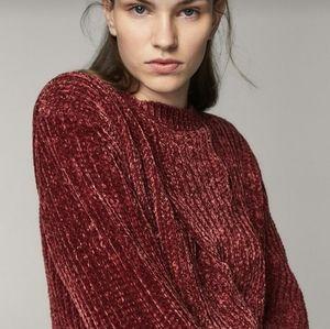 Massimo Dutti cable knit chenille sweater